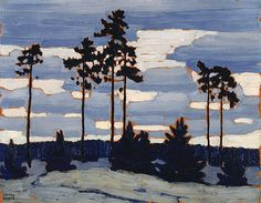 Lawren Harris, Pine Plains, Ontario, c.1915 - great for getting kids to paint a background with a nice wash and then put trees in detail with a black marker - very effective!