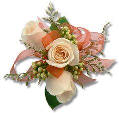 WRIST CORSAGE peach coral wedding flowers