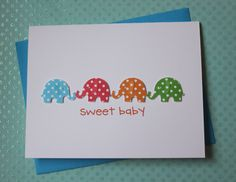 Handmade Baby Congratulations Baby Shower New Baby Welcome Baby Boy Gift Card 3D Blue Red Orange Green Polka Dots Elephants on White Cardstock via Etsy