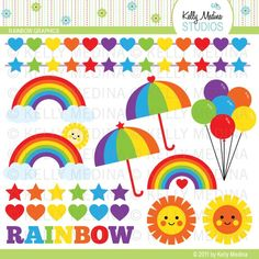 Rainbow - Clip Art Set - Digital Elements Commercial use for Cards, Stationery and Paper Crafts and Products