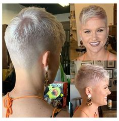Short Shaved Hairstyles, Short Pixie Haircuts, Cute Hairstyles For Short Hair, Short Hair Cuts For Women, Short Hair Styles, Really Short Haircuts, Super Short Pixie Cuts, Diy Hairstyles, Short Grey Hair