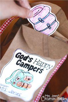 Mrs. Jones' Creation Station   Good Samaritan   Preschool, Pre-K, Kindergarten   Bible Lesson   Camping Theme   Backpack craft