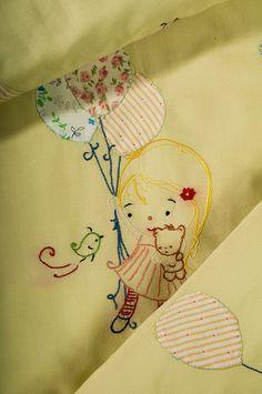 Applique baby girl's blanket hand by babysdreamfairytales on Etsy