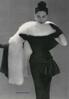 Model wearing an ensemble by Balenciaga, 1953.
