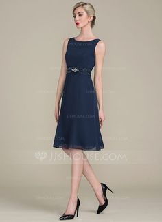 A-Line/Princess Scoop Neck Knee-Length Ruffle Lace Beading Sequins Zipper Up Regular Straps Sleeveless Yes Dark Navy General Plus Chiffon Height:5.7ft Bust:33in Waist:24in Hips:34in US 2 / UK 6 / EU 32 Mother of the Bride Dress