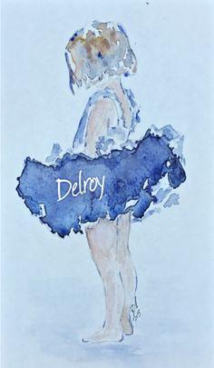 Pequeña bailarina de azul. Acuarela/ water colour by/ Obra de Eva Delroy.