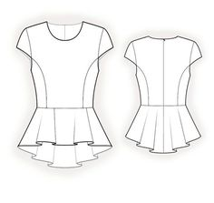 Blouse With Peplum  - Sewing Pattern #4177 Made-to-measure sewing pattern from Lekala with free online download.