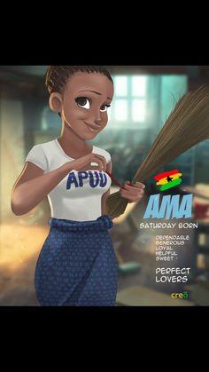 Ama Black Love Art, Black Girl Art, Art Girl, Female Portrait, Female Art, Ghanaian Names, Natural Hair Art, Black Girl Cartoon, Black Art Pictures