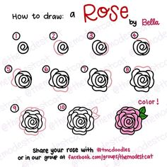 how to doodle a rose. easy way to draw a rose. doodles with bella