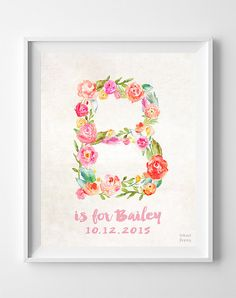 Nursery Name, Baby Art Print, Baby Artwork, Children Room, Monogram Alphabet, Brittany ,Barbara, Beth, Bailey, Brooke, Easter Decorations