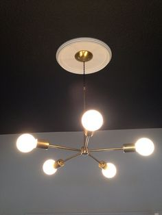Gold Brass Chandelier modern mid century wall by triple7recycled