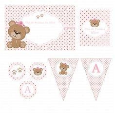 Kit digital para imprimir Ursinha Princesa Marrom e rosa