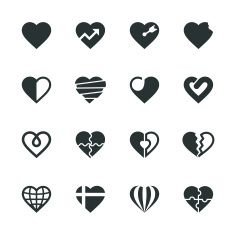 Heart Silhouette Icons | Set 2 vector art illustration
