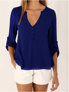 New Chiffon Blouses V-neck Button Sexy Loose Women Tops