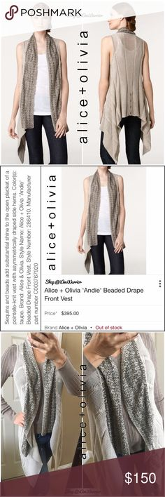 HP! Alice + Olivia beaded drape cardigan sweater Host Pick! Just reduced!! Stunning sleeveless open cardigan sweater from Alice and Olivia. Soft taupe/tan color w/ gorgeous bronze beadwork all along the asymmetrical shawl collar. 100% cotton so this is seasonless! Pair it over a top, blouse or dress for beautiful look. EUC, smoke free home. Retailed at $395! You will not find this beauty anywhere!! ❗Please read my recently updated 'about me and my closet' listing for pricing/policies. Alice…
