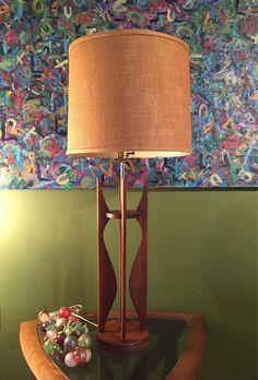 Mid Century Modern Danish Table Lamp/Mid Century Wood Base