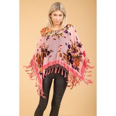 Jayley Pink Silk Devore Poncho found on Polyvore featuring women's fashion, outerwear, silk poncho and pink poncho