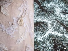 Close-up of Annemieke's Dimity gown which was adorned in vintage French Chantilly lace, guipure lace leaves and custom tassels.