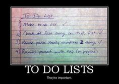 To do list for the weekend!