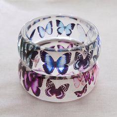 Pink Butterflies Eco Resin Bangle Bracelet Spring by YASjewelry