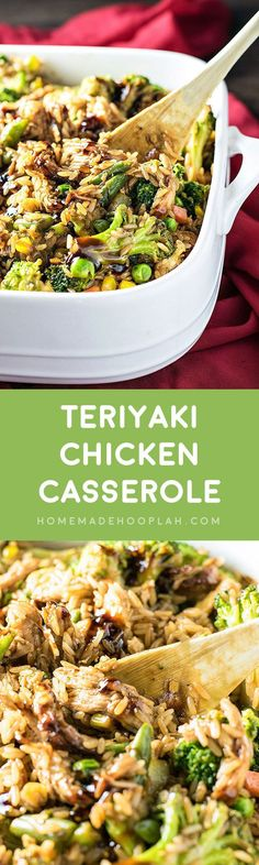 Teriyaki Chicken Casserole! The best of Chinese takeout baked in a casserole dish with assorted veggies and fried rice. | HomemadeHooplah.com