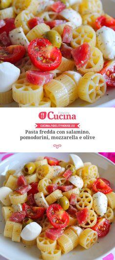 Pasta fredda con salamino, pomodorini, mozzarella e olive Classic Italian Dishes, Olive Recipes, Cold Dishes, Salty Foods, Best Italian Recipes, Brunch, I Love Food, Finger Foods, Food Porn