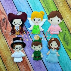 Pan Friends Finger Puppet Set Embroidery Design by EandMeDesigns