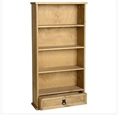 Solid 1-Drawer Pine Tall Bookcase - Features Four Spacious Shelves And Large Amount of Storage Space - Perfect For Books or DVD Collection---52.99---