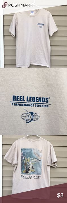 Reel Legends men's tan short sleeve shirt Nice shirt with logo on front and back with picture of fish and map. 100% cotton, no stains, snags or holes. Reel Legends Shirts Tees - Short Sleeve