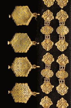A FINE AND RARE SET OF OTTOMAN GOLD AND PEARL INLAID BRIDLE ORNAMENTS, TURKEY, 16TH CENTURY composed of twelve hammered and punched bridle ornaments consisting of three lobed plaques connected with interlocking hinges, decorated with an incised foliate designs and pearls, attached to a felt mount, also featuring eleven hanging beads of lobed hexagonal form, incised with floral scrolls