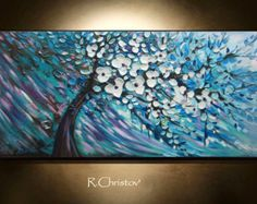 Kunst-blau und weiß Blume Malerei strukturierte von CHRISTOVART