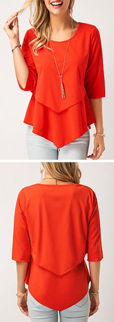 Layered Asymmetric Hem Three Quarter Sleeve Blouse