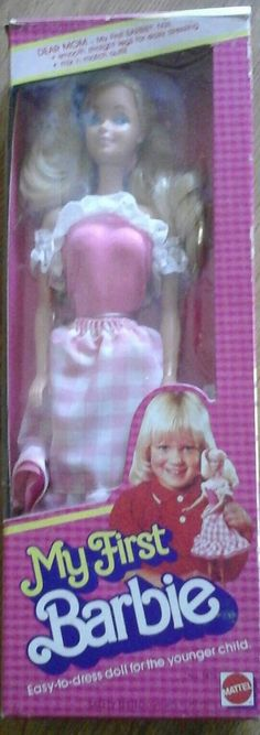 Check out this item in my Etsy shop https://www.etsy.com/listing/463322192/my-first-barbie-1982-pink-and-white
