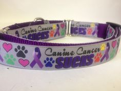 Hey, I found this really awesome Etsy listing at https://www.etsy.com/listing/167371161/canine-cancer-sucks-dog-collar