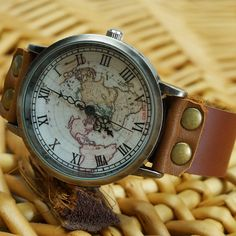 Cheap Handmade Retro World Map Leather Watch For Big Sale!Handmade Retro World Map Leather Watch is a prefect gift for her. Retro Watches, Cute Watches, Vintage Watches, Women's Watches, Wrist Watches, Map Watch, Swatch, Simple Watches, Brown Leather Strap Watch
