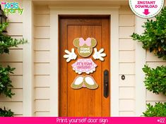 INSTANT DOWNLOAD Pink and gold Mouse Door Hanging Sign Print yourself, Mouse Party Printables DIY