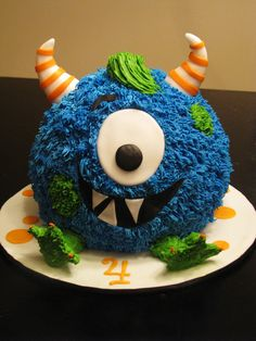 lil monster birthday cake   this cute little fellow was made for one of the little monsters in my ...