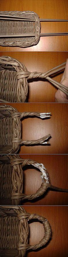 Cesta de asas tejida   -   Weave a basket handles   -   Плетение ручки для корзины