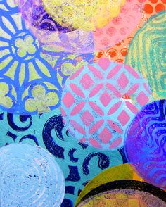 "Printing with Gelli Arts®: Gelli™ Stamping: Layered Circles with the 4"", 6"" and 8"" round #gelli plates!"