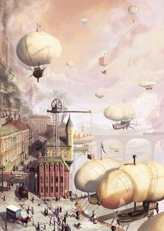Airship Docks #steampunk #transport #canals
