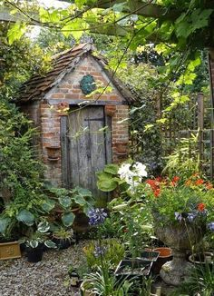 English cottage gardening shed