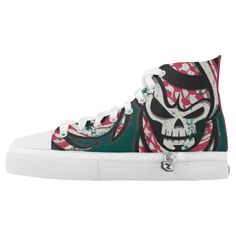 Purchase a wonderful pair of Skull sneakers & athletic shoes from Zazzle. Interchangeable covers allow you to have different shoes everyday of the week! Skull Print, Customized Gifts, Converse Chuck Taylor, Athletic Shoes, High Top Sneakers, Pairs, Fashion Design, Personalized Gifts, Shoes Sport
