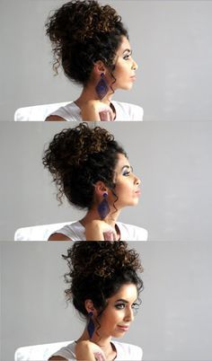 Hair Bun Curly Natural Curls Ideas For 2019 Curly Bun Hairstyles, Curly Hair Updo, Curly Wedding Hair, Curly Hair Care, Short Curly Hair, Hair Dos, Curly Hair Styles, Natural Hair Styles, Afro Hair