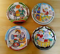 SET OF 4 Giovanni Desimone Hand Made Painted Italian Pottery Plates Signed | eBay