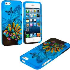 Amazon.com: myLife (TM) Black + Blue Faded Butterflies Series (2 Piece Snap On) Hardshell Plates Case for the iPhone 5/5S (5G) 5th Generatio...