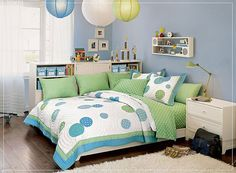 blue and green kids room. I love polka dots but probably not for a boys room
