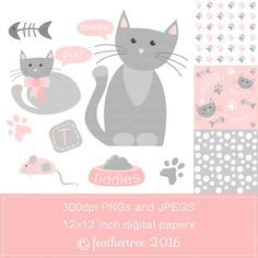 Tiddles the Kitten Clipart and Digital Papers by feathertree