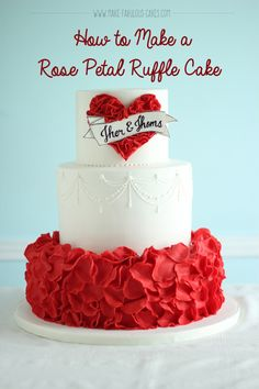 How to Make a Rose Petal Ruffle Cake : How to do a rose petal tier. Rose Petal Ruffle Cake Step by step tutorial on how to make a rose petal ruffle cake. Birthday Cake Fondant, Fondant Cakes, Cupcake Cakes, Fondant Tips, Shoe Cakes, Cake Decorating Techniques, Cake Decorating Tutorials, Decorating Ideas, Beautiful Cakes