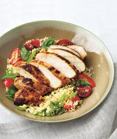 Spiced Chicken With Couscous Salad | RealSimple.com. No need to spend time removing the strings from the snap peas for this salad. Slicing the peas crosswise into small pieces makes the fibers less of a nuisance.