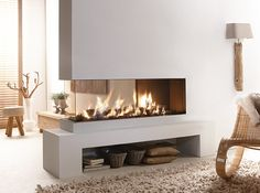 Peninsula Style Contemporary Fireplace - Lucius 140 by Element4